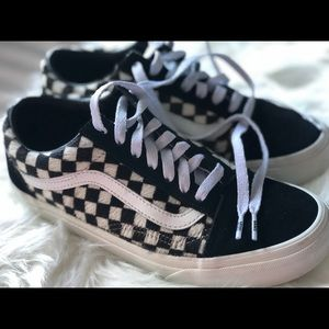 Used-Checkered-Faux Fur VANS (Unisex)🥰